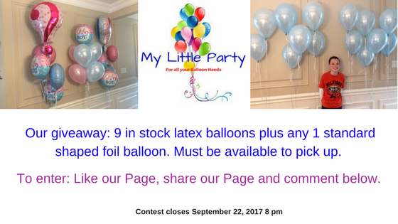 Our giveaway- 9 in stock latex balloons plus any 1 standard shaped foil balloon. Must be available to pick up.